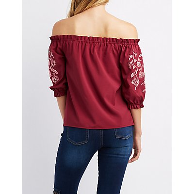 Floral Embroidered Off-The-Shoulder Top