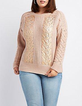 Plus Size Metallic Foil-Detail Pullover Sweater