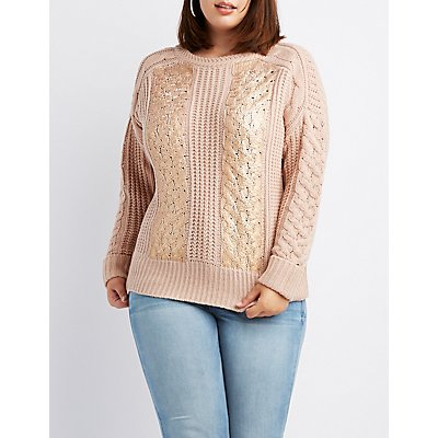 Plus Size Metallic Foil-Detail Pullover Sweater