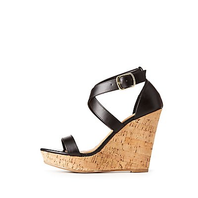 Crossed Ankle Wrap Wedge Sandals