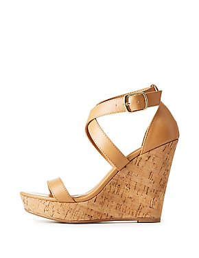 Faux Leather Two-Piece Wedge Sandals