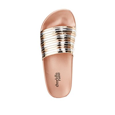 Metallic Striped Slide Sandals