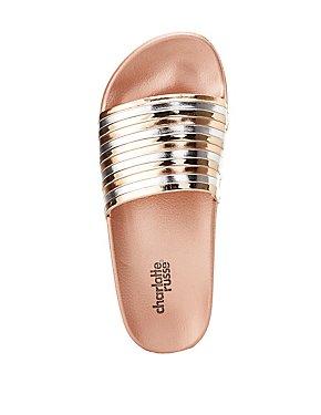 Metallic Striped Slide Sandals