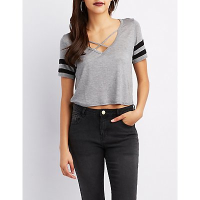 Caged Varsity Stripe Crop Tee