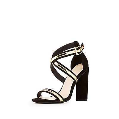 Metal Strappy Caged Dress Sandals