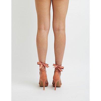 Embellished Grosgrain Ankle Wrap Sandals