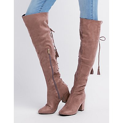 Faux Suede Tassel Lace-Up Back Over-The-Knee Boots