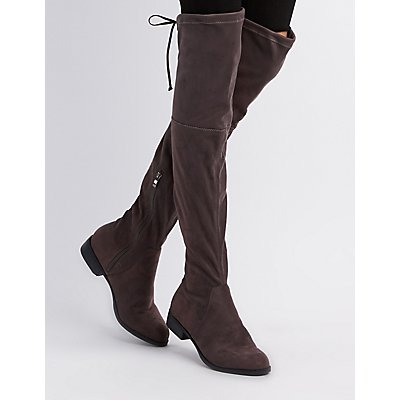 Tie-Back Over-The-Knee Flats Boots