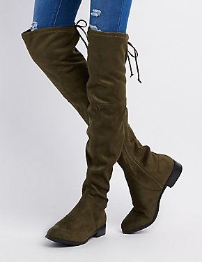 Tie-Back Over-The-Knee Flat Boots