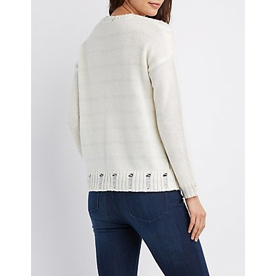Lurex Cable-Knit Pullover Sweater
