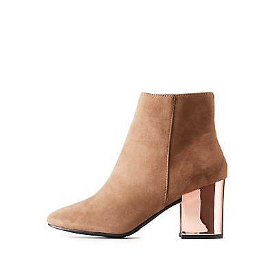 Metalic Heel Faux Suede Ankle Booties
