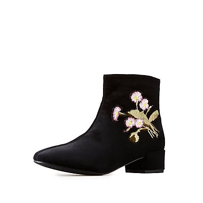 Velvet Embroidered Booties
