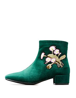Embroidered Velvet Ankle Booties