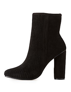 Faux Suede Laser Cut Ankle Booties