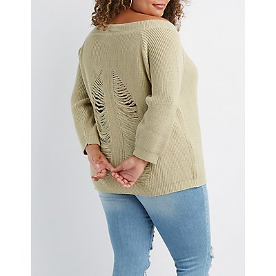 Plus Size Off-The-Shoulder Pullover Sweater