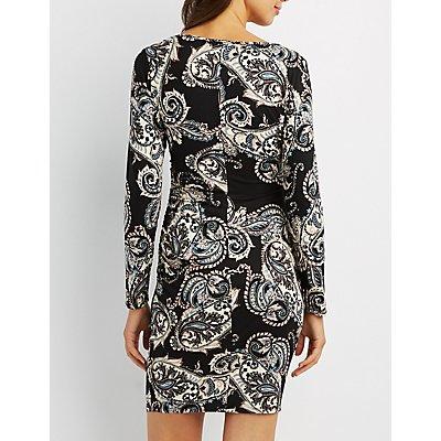 Ruched Surplice Neck Bodycon Dress