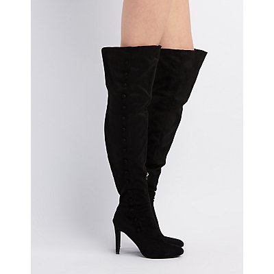 Button-Trim Over-The-Knee Boots