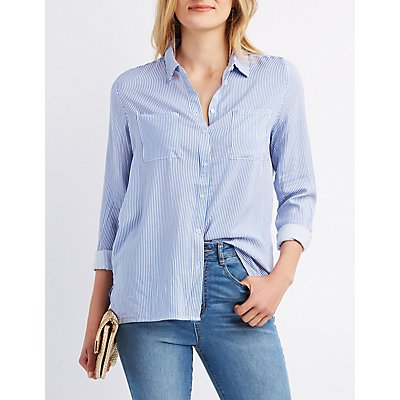 Striped Pocket Button-Up Shirt