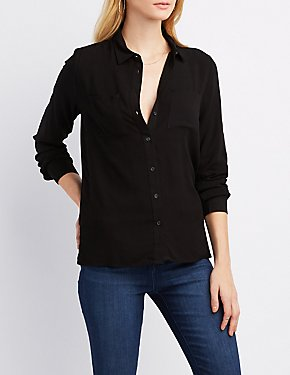 Collared Pocket Button-Up Shirt
