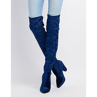 Embossed Velvet Over-The-Knee Boots
