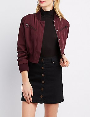 Zip-Up Cropped Bomber Jacket