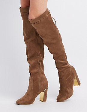 Faux Suede Tie Top Over-The-Knee Boots