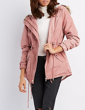 Faux Fur-Trim Hooded Anorak Jacket