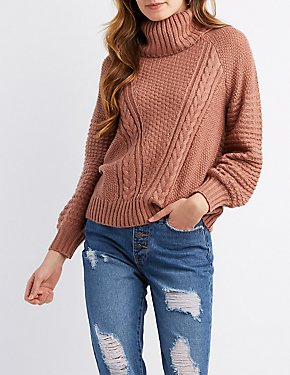 Mixed Knit Cowl Neck Pullover Sweater