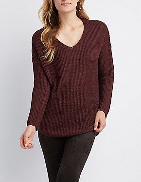 Shaker Stitch V-Neck Sweater