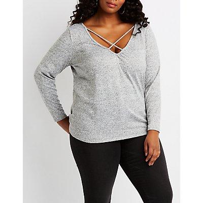 Plus Size Hacci Knit Lattice-Front Top
