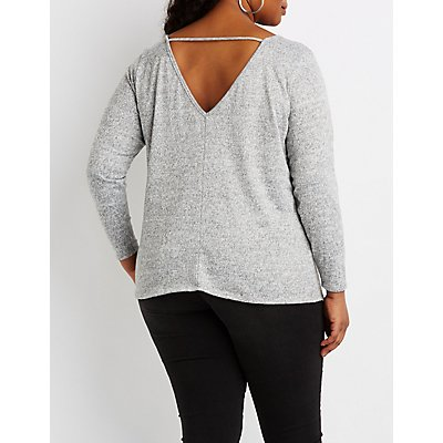 Plus Size Hacci Knit Lattice-Front Top