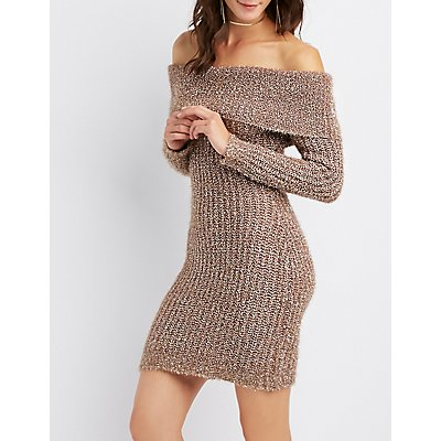 Metallic Cowl Neck Sweater Dress