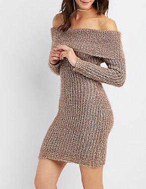 Metallic Cowl Neck Sweater Dress