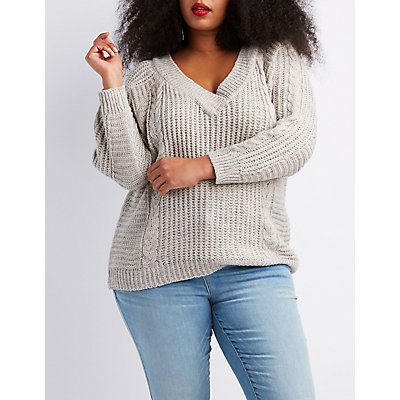 Plus Size V-Neck Cable Knit Pullover