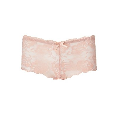 Scalloped Floral Lace Boyshort Panties