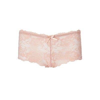 Scalloped Floral Lace Boyshort Panties