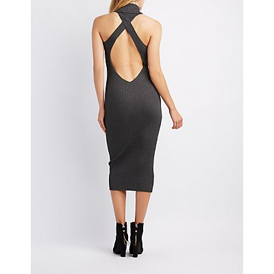 Ribbed Turtle Neck Open-Back Bodycon Dress