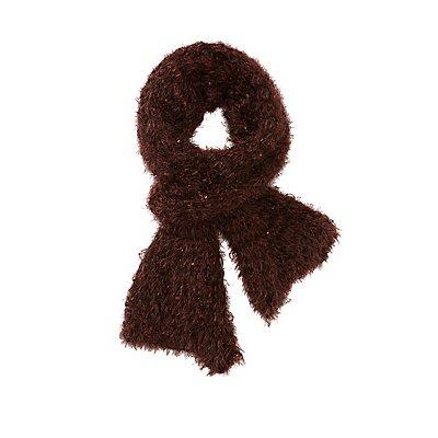 Fuzzy Yarn Sequin Detail Scarf