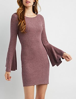 Bell Sleeve Hacci Sweater Dress