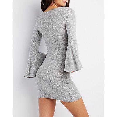 Bell Sleeve Bodycon Sweater Dress
