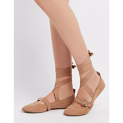 Buckled Lace-Up Ballet Flats
