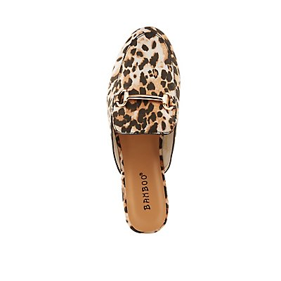 Bamboo Leopard Metal Buckle Loafer Mules