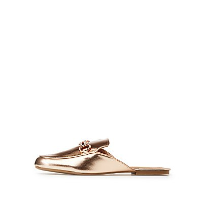 Bamboo Metallic Metal Buckle Loafer Mules