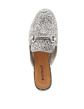 Bamboo Glitter Metal Buckle Loafer Mules