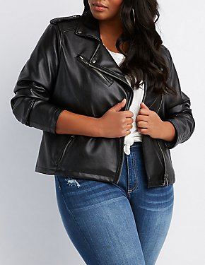 Plus Size Faux Leather Moto Jacket