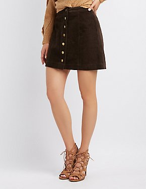 Button-Up Corduroy Mini Skirt