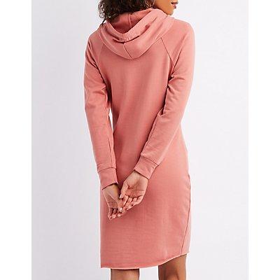 Drawstring Hoodie Sweatshirt Dress