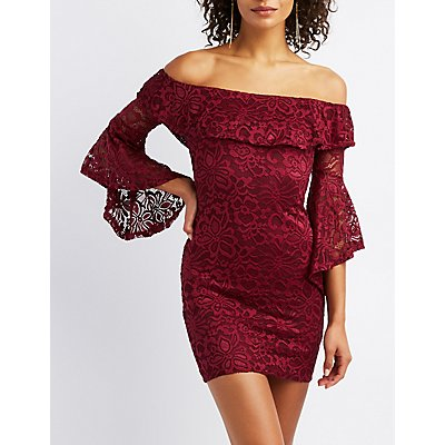 Lace Ruffle-Trim Bell Sleeve Bodycon Dress