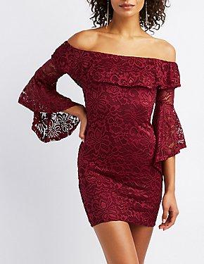 Lace Ruffle-Trim Bell Sleeve Bodycon Dress