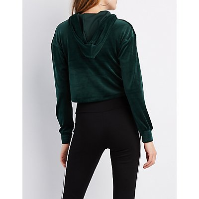 Velour Fishnet Mesh-Trim Cropped Bell Sleeve Hoodie